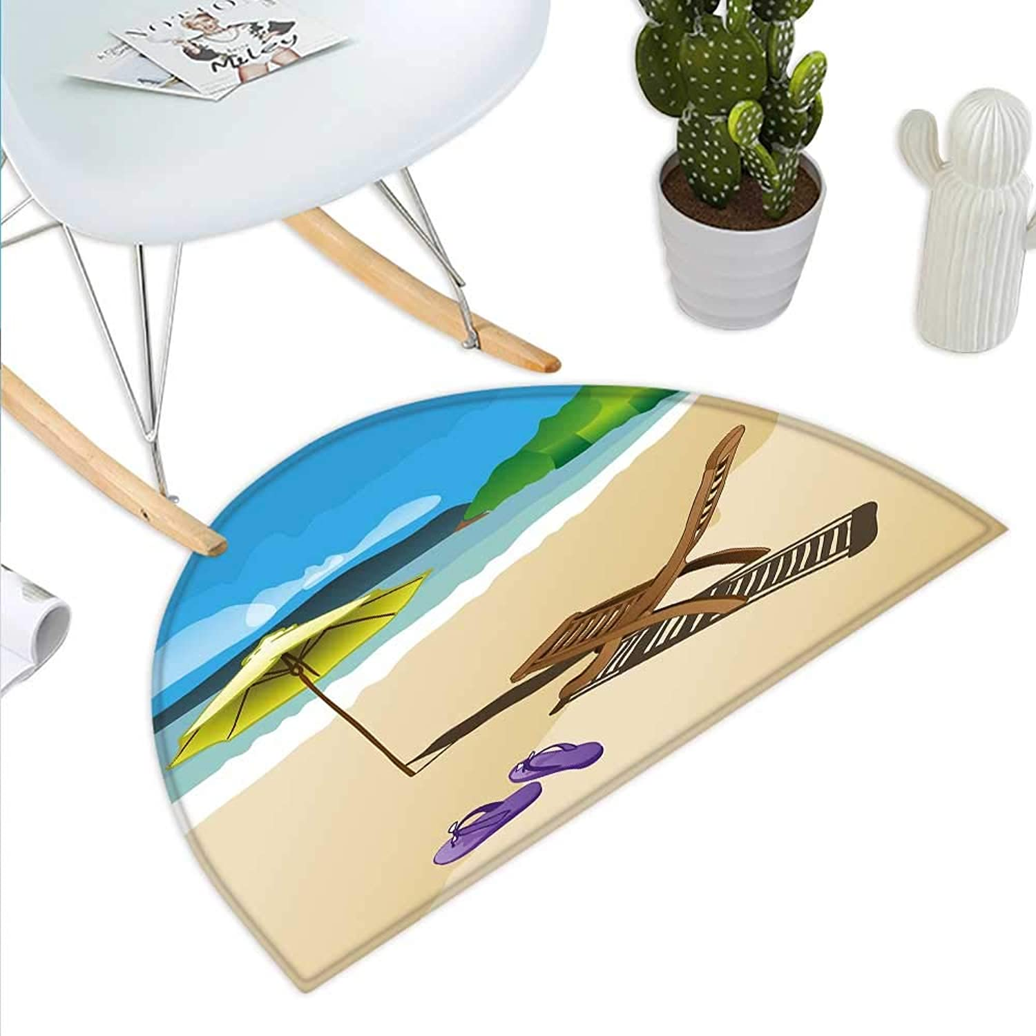 Summer Semicircle Doormat Beach Sunshine Sand Waves Sandal Deckchair Holiday Relaxation Vacation Cartoon Print Halfmoon doormats H 39.3  xD 59  Multicolor