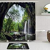 Juego de cortinas y tapetes de ducha de tela,Naturaleza Cueva de verano en cascada Parque Nacional Tailandia Bosque Se,cortinas de baño repelentes al agua con 12 ganchos, alfombras antideslizantes