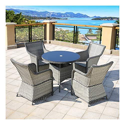 Conjunto de bistró de ratán con sillas de Mesa de Muebles de Exterior Rattan Garden Furniture Set Patio Rattan Dining Mese Set Wicker Weave