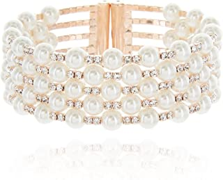 Multi Strands Pearl & Rhinestone Bangle Bracelet Cuff in Rose Gold or Silver