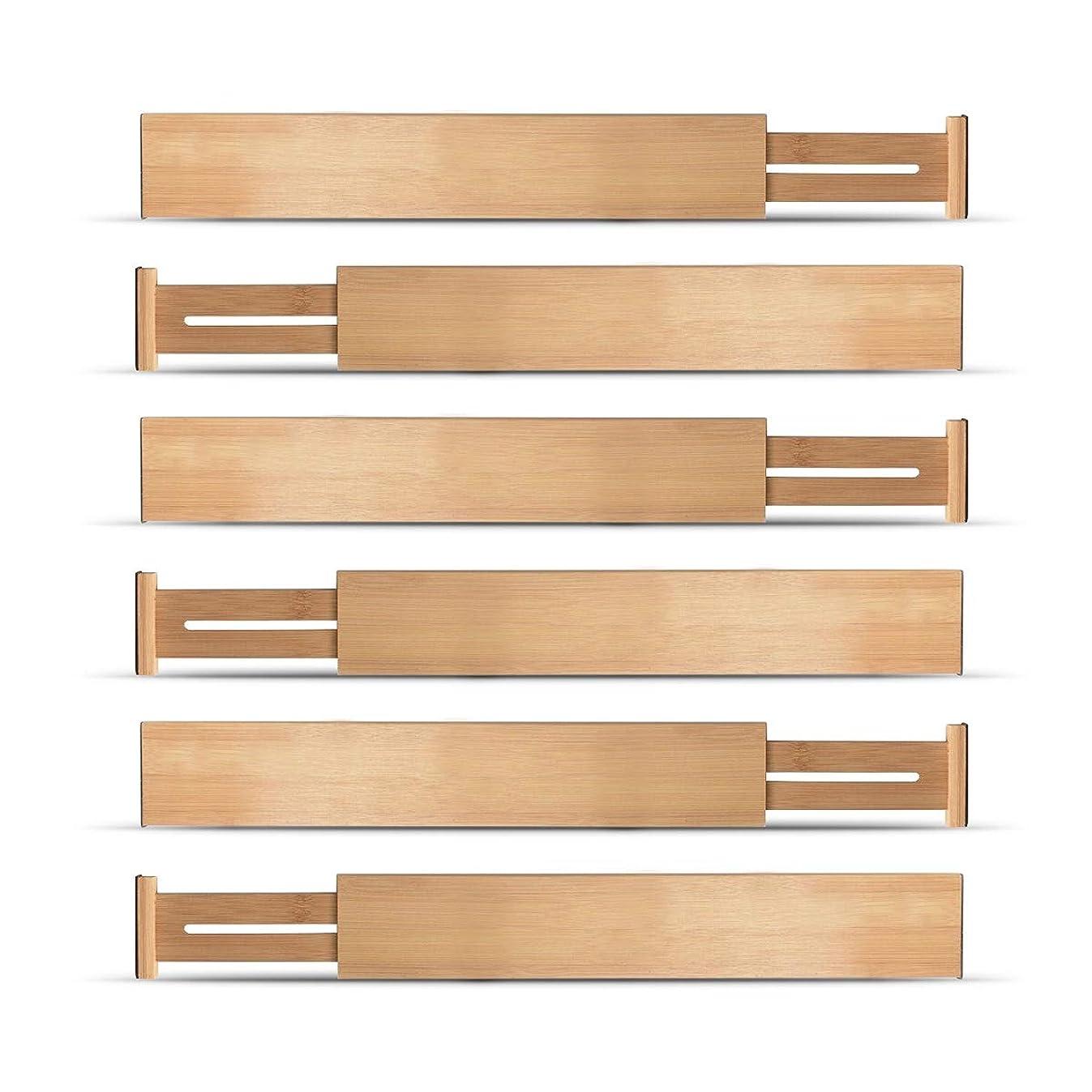 Bambusi Drawer Dividers Organizers Set - Spring Loaded Adjustable Bamboo Drawer Separators for Home & Office Organization (Set of 6)