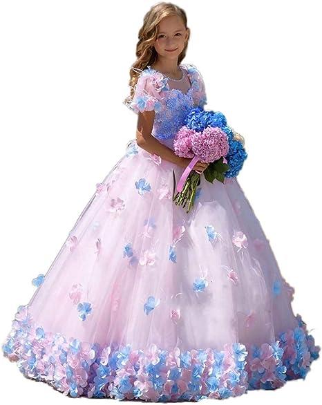 Cocogirls Cocogirls Prinzessin Schon Rosa Blumenmadchenkleider Mit 3d Blumen Kurze Armel Madchen Ballkleid Kinder Kind Festzug Kleider Geburtstag Party Kleid Kleider Amazon De Bekleidung