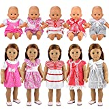 Miunana 5X Vestidos Verano Casual Ropas Fashion para 14- 18 Pulgadas Muñeca bebé 36 cm Doll 18 Pulga...