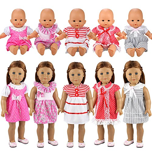 Miunana 5X Vestidos Verano Casual Ropas Fashion para 14- 18 Pulgadas Muñeca bebé 36 cm Doll 18 Pulgadas American Girl Doll