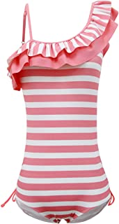 qyqkfly Girls Adjustable One Piece Colorful Stripe Double Ruffle One Shoulder Swimwear 5Y-15Y Swimsuit (FBA)