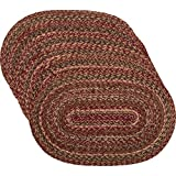 VHC Brands Cider Mill Jute, Placemat Set of 6, Red