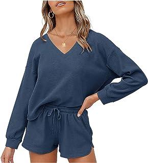 MEROKEETY Womens Waffle Long Sleeve Hoodie Pajama Set Casual Two Piece Loungewear Pj Sleepwear