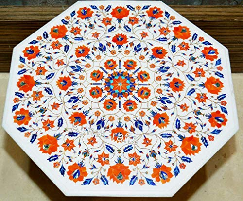 30 x 30 Inches White Marble Patio Table Top Inlaid with Carnelian Stone Pietra Dura Art Coffee Table Top for Cafeteria