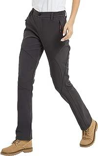 JOMLUN Women's Outdoor Windproof Waterproof Hiking Mountain Ski Pants Soft Shell Fleece Lined Trouser