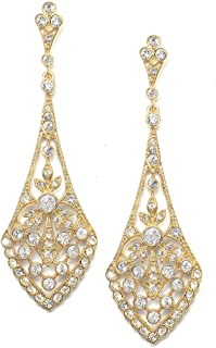 Mariell Cubic Zirconia Crystal Art Deco Wedding Dangle Earrings for Women, Jewelry for Bride, Bridesmaids