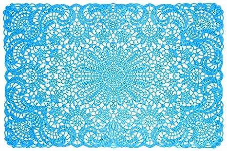 World Buyers Blue Vinyl Lace Placemats Set Of 6 18x12 L Home Kitchen Amazon Com