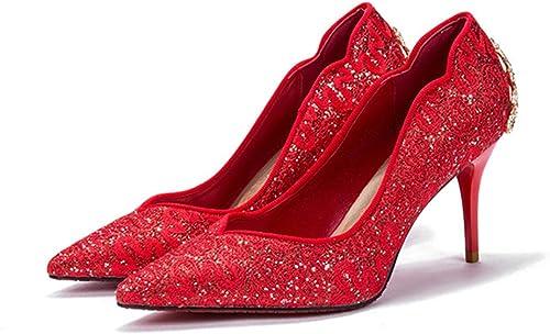 LIANGJUN mujer zapatos Boda Tacón Alto Botines Moda, 3 Colors, 8 Tamaños Disponibles (Color   rojo, Tamaño   EU33=UK3=L 215mm)