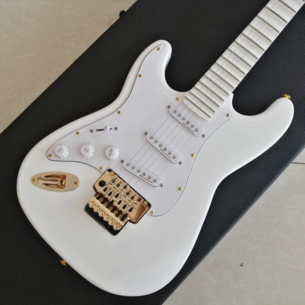 LYNLYN Guitarras Guitarra Eléctrica Guitarra De Oro con Cuello Festoneado Profundo Guitarra Blanca Guitarra De Guitarra Cadena Acero Acústico Guitarra eléctrica
