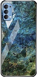 جراب خلفي من الزجاج المقوى بنمط الرخام لهاتف Oppo Reno4 - أزرق وأخضر