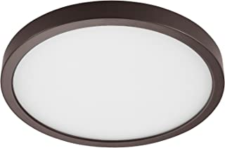 GetInLight Round 10-inch Dimmable Flush Mount Ceiling Fixture, (2nd Generation), 17 Watt, Bronze Finish, 3000K Soft White, 100W Replacement, Damp Location Rated, ETL Listed, IN-0306-3-BZ