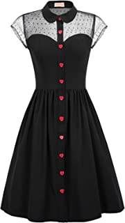 Women's 1950s Polka Dots Vintage Swing Dresses with Pockets