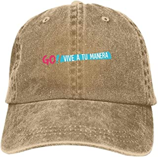 go Vive a tu manera Baseball Caps Hip hop Sports Hat Breathable Unisex Printed Vintage Denim Driver's Cap
