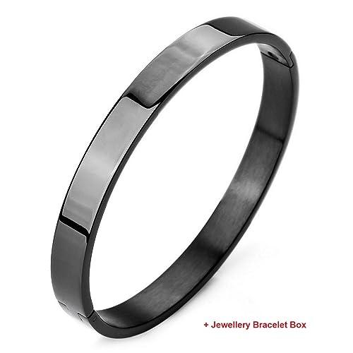 Moneekar Jewels Plain Polished Stainless Steel Classical Kada Bracelets for Mens Boys with Free Jewellery Bracelet Box