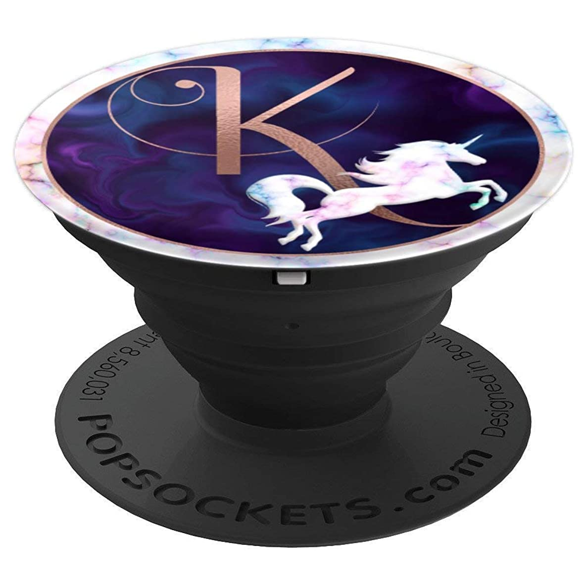 Rose Pink Letter K Unicorn Galaxy Rainbow Marble - PopSockets Grip and Stand for Phones and Tablets