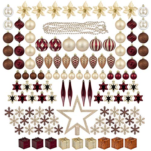ITART 129ct Christmas Tree Ornaments Assortment Including Tree Topper Balls Snowflakes Star Pine Cone Miniature Gift Boxes Poinsettia Beads Garlands (Red Brown and Champagne)