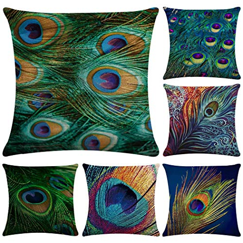 Faylapa 6 Pack Cotton Linen Pillow Cases,Peacock Feather Decorative Cushion Cover Pillowcase Indoor Sofa Decorations 18×18 Inches (45×45cm)(Case ONLY)