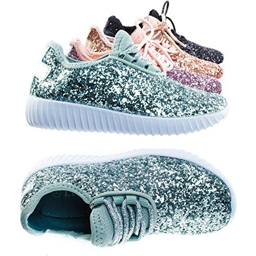 Link Lace up Rock Glitter Fashion Sneaker for Children/Girl/Kids, Silver, 9 Toddler