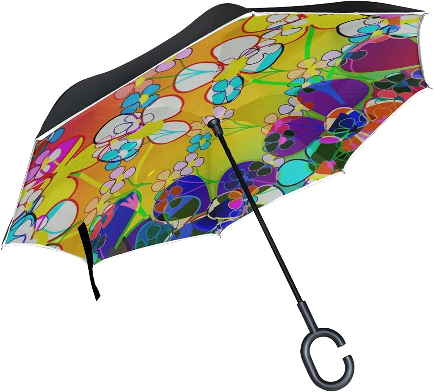 Double Layer Ingreened Abstract Design Texture Umbrellas Reverse Folding Umbrella Windproof Uv Predection Big Straight Umbrella for Car Rain Outdoor with CShaped Handle