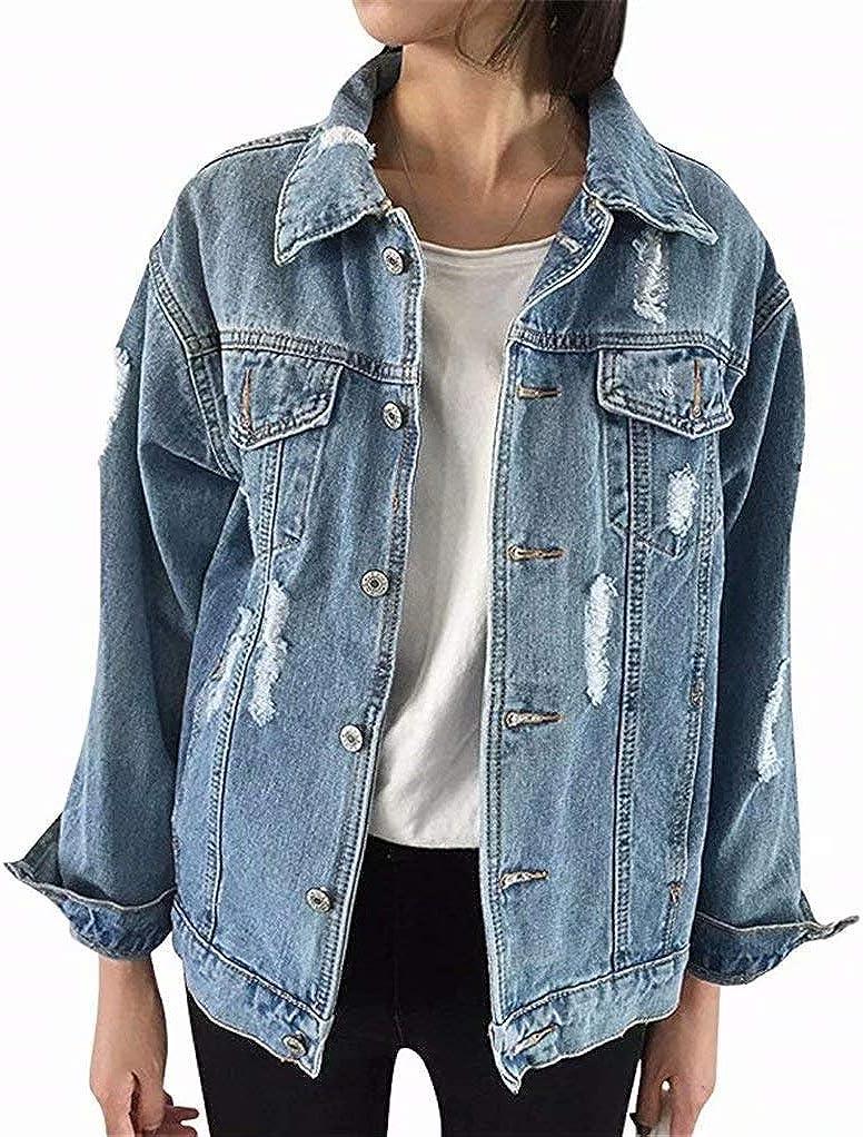 zhuluokeke Fashion Women's Stretch Oversize Denim Jacket Boyfriend Long Sleeve Coat