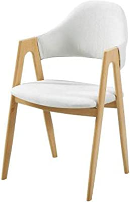 SHUILV Dining Chairs Solid Wood Chair Dining Room Armrest Leisure Back Chair for Living Room and Dining Room Dining Chairs Kitchen (Color : Many Colors are Available) (Color : White)