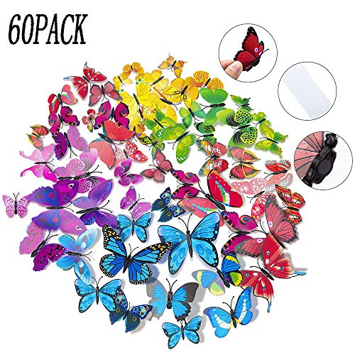 LIZHIGE Etiquetas Engomadas Mariposas, 60 Piezas 3D Decoración de Mariposas, Pegatinas de pared Mariposas,Ideal para la decoracion del hogar kids room decor del dormitorio