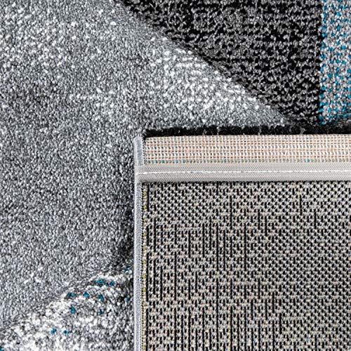 Alfombra Salón Pelo Corto Efecto 3D Rombos A Cuadros Moderna Gris Turquesa, tamaño:200x290 cm, Color:Turquesa