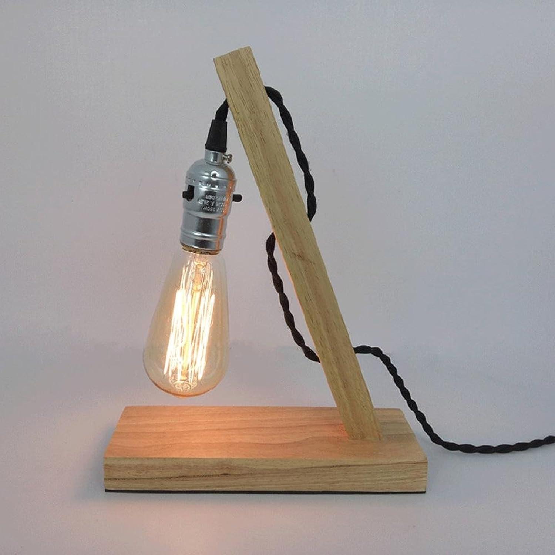 AOKARLIA Leselampe Lampen Mit Solide Holz Stent Beleuchtung Dekoration Nachtlicht Kreativ Retro Einfach Wolfram Filament Lampe