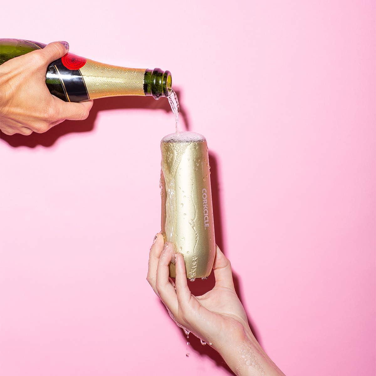 Corkcicle 7oz Stemless Flute Sip Champagne in Style Rose Quartz