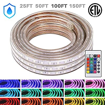WYZworks LED Rope Lights, 100 ft Waterproof Color Changing Strip Light for Outdoor & Indoor Use - Flexible Dimmable Lighting with Remote Controller 16 Colors & Multi Modes - 25, 50, 100, 150 feet