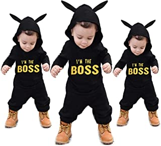 Matoen Baby Boy Hooded Letter Print King Romper Jumpsuit Playsuit Clothes Outfits