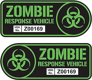 Zombie Response Vehicle Sticker Set Vinyl Decal Black & Lime Green Car Truck SUV Decal Badge Halloween