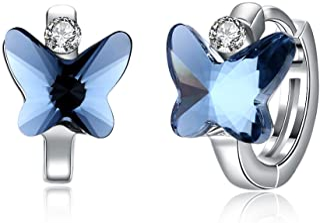 Royal Blue Glitzs Jewels 925 Sterling Silver Cubic Zirconia CZ Stud Earrings for Women Square 5mm