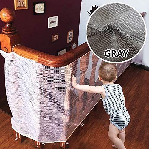 ROCK1ON Baby Absturzsicherung Net Kinder Sicherheit Net Balkon Treppe Geländer Sicherheitsnetz Zaun für Baby Kleinkind Kids Pet - 13.1 ft L x 2.5ft H,Grau