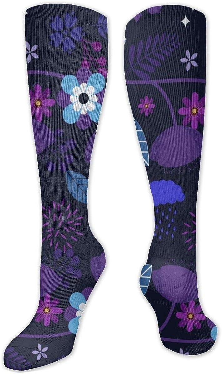 Purple Flowers Knee High Socks Leg Warmer Dresses Long Boot Stockings For Womens Cosplay Daily Wear