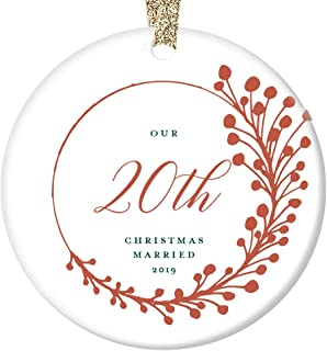 20th Anniversary Christmas Ornament 2019 Twenty Years Married Dated Keepsake Gift Her Him Tree Decoration Couple Wedding Memory Present Farmhouse Red Berry Decor Ceramic 3
