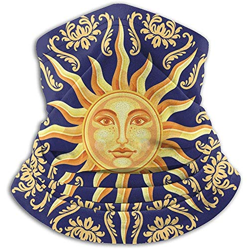 Bklzzjc Celestial Baroque Blue Gold Sun Unisex Fleece Neck Warmer Face Warmer Neck Tube Neck Neck Scarf Neck Guêtres