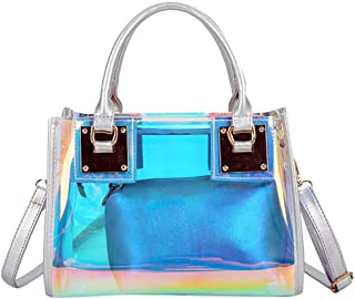 Sameno Clear Bag ✿ Womens 2 in 1 Transparent Sequin Tote Bag PVC Plastic Waterproof Crossbody Shoulder Bag with Adjustable...
