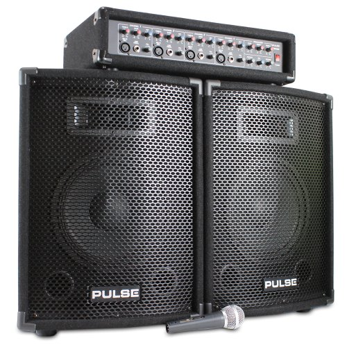Pair of 10' Speakers + Mixer Amplifier + DJ Microphone Complete PA System...
