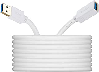 USB 3.0 Extension Cable 6 ft White, VCZHS USB Extender USB Extension Male to Female for USB Flash Drive, Card Reader, Hard Drive, Keyboard,Playstation, Xbox, Oculus VR, Printer, Camera