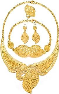 اطقم مجوهرات مطلية بالذهب عيار 24 قيراط للسيدات وقلادة واقراط وسوار مجموعة هدايا الزفاف الهندية الافريقية