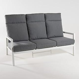 Sofá jardín de Aluminio Reforzado Color Blanco, 3 plazas, Cojines Color Gris, Altura 104 cm