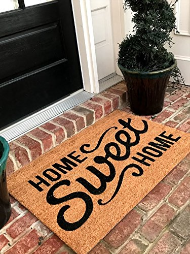 Tar Heel MarketPlace Mats Natural Coir Non Slip Home Sweet Home Floor Entrance Door Mat Indoor/Outdoor (24, 36) + FREE Rubber Mat (20 Value)