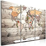 artgeist Pinboard World Map 53.1'x35.4' Cork Board & Canvas Print Wall Art 3 pcs Memoboard with 50 Pins Noticeboard Message Board Image Picture Home Decor Travel Map Map of The World k-C-0035-p-g
