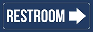iCandy Combat Blue Background with White Font Restroom - Right Arrow Business Retail Outdoor & Indoor Plastic Wall Sign - 2 Pack, 3x9