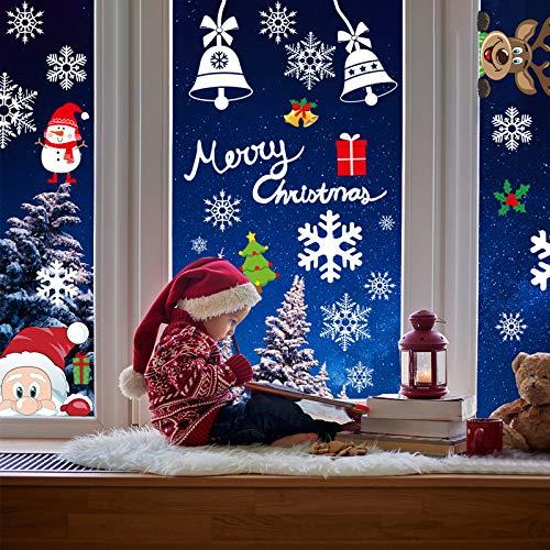 AmzKoi Fensterbilder Weihnachten Selbstklebend, Weihnachten Fenstersticker Winter Deko Weihnachtsdeko,Fensterbilder Weihnachten Wiederverwendbar